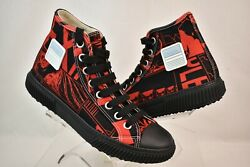 NIB PRADA RED BLACK COMIC PRINT CANVAS LOGO LACE UP HI TOP SNEAKERS 10 US 11