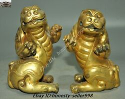 Chinese Dynasty Fengshui Bronze 24k Gold Gilt Pixiu Brave Troops Beast Statue