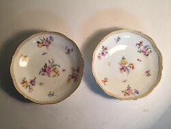 Two 2 Meissen-germany-floral Pattern-bowl Plate 5.5