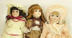 Lot Of 3 Heritage Porcelain Dolls Musical Wind Up With Boxes
