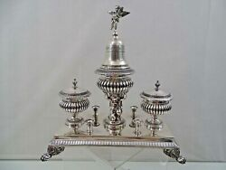 Antique French Silver Inkwell Ink Stand Figural Angel Cherub France Sterling 19c