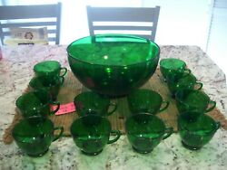 Retro Anchor Hocking Green Glass Punch Bowl And 12 Cups