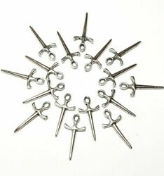 60pcs 10x20mm Athame Wiccan Knife Charms Antique Silver Tone Pendant Making