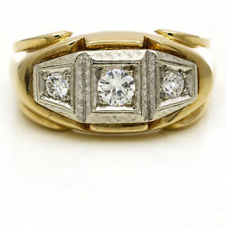 Menand039s Vintage Three Stone Diamond Band Ring In 14k Yellow Gold