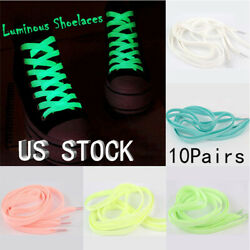 10Pairs Sports Luminous Laces Glow In The Dark Color Fluorescent Lace Flat Shoes
