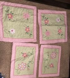 Pottery Barn Kids Pink Green Flower Quilt W/ 4 Shams. Two Green Marks On Quilt