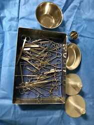 Ct Instrument Tray - Various Set W/ Stainless Steel Bowls In Sterilizable Case