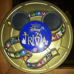 The Wonderful World Of Disney Trivia Game Round Metal Tin Complete Cards