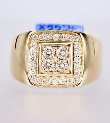 Menand039s Solid 14k Yellow Gold Diamond Signet President Band Engagement Ring
