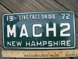 Vintage Original New Hampshire Vanity License Plate 1972 Ford Mustang Mach 2