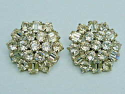 Vintage Ohrclips Albert Weiss New York Strass Clip On Earrings Costume Jewelry