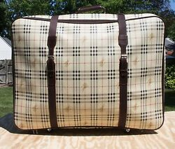 Rare Bootleg Vtg And039s Signature Plaid London Large Travel Case 32in X 24in