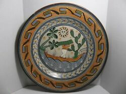 Vintage Tonala Mexican Folk Art Pottery Wall Charger Plate 21.25 Cactus Agave
