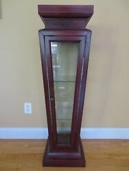Curio Pedestal Stand Display Case Vintage Glass Solid Mahogany Two Selves