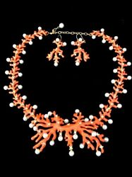 Hutton Wilkinson Necklace And Earrings Set Coral Enamel Faux Pearl Rhinestone Gold