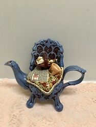 ❤rare 1996 Royal Albert Old Country Roses Blue Chintz Chair Earthenware Teapot ❤