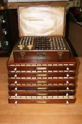 Antique Kk And Elgin National Watch Parts Wooden Display Cabinets W Original Parts