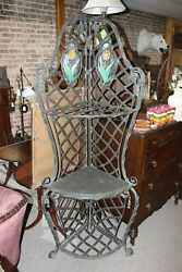 Antique Brass Corner Stand With Leaded Stained Glass Flower Panes