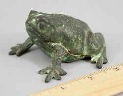Antique 1920's Berks Foundry Penn Copper On Cast Iron Paperweight Frog Toad Rare