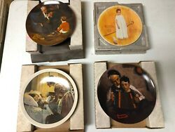 Collectible Plates - Norman Rockwell - Lot Of 18 Plus Book And 4 Prints