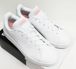 NIB ADIDAS Women's Advantage Base White Pink Low Top Tennis Shoes Sneakers