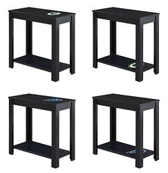 End Table Night Stand Black Wood Nfl Team Decal Man Cave On Top Or Bottom Shelf