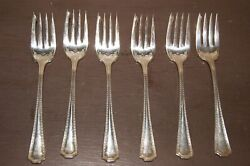 Set Of 6 Kenilworth Plate Knp1 Dotted Edge Glossy Silverplate Salad Forks 5.75