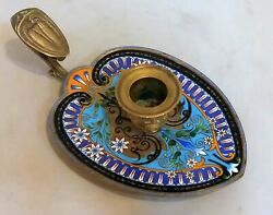Italian Antique Candlestick Enamel Decorated Hand Made Walking Candle Holder
