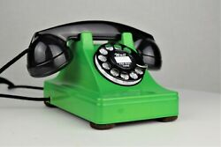 Vintage Original Western Electric 302 Lime Green Chromium Rotary Dial Telephone