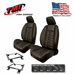 Tmi Pro Series Sport Xr Lowback Bucket Seats And Brackets For 1965- 1969 Barracuda
