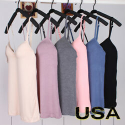 US Seller Women Camisole Tops with Built in Bra V Neck Vest Padded Slim Tank Top