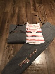 Victoria Secret Pink Rainbow 🌈 Bling Outfit 3 Hoodie+shirt+pants Large New