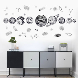 Wall Decal DIY Removable Kids Black Solar System Planets Space Asteroid Meteor