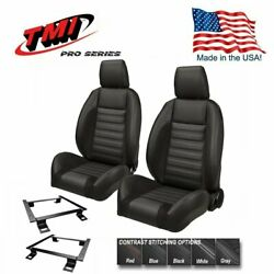 Tmi Pro Series Sport R Bucket Seats W/headrests And Brackets For 1966-72 Chevelle