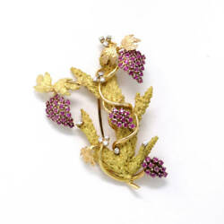 Grapevine Brooch (2.55 ct) 18K Yellow Gold Ruby & Diamonds