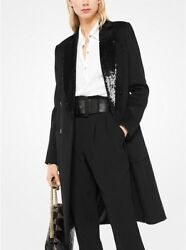 MICHAEL KORS Black Sequined Collar Double Breasted Wool Coat Size 2