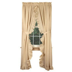 New French Country Shabby Chic Farmhouse Flax Ruffled Long Panels Curtains 84