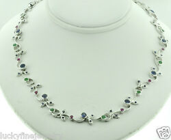 4.57 Ct 14k Solid White Gold Sapphire Ruby Emerald Floral Necklace 23.71 Gram