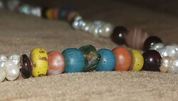 Antique Real Natural Amber Pearl Agate Coral Amazonite - Necklace - West Sahara