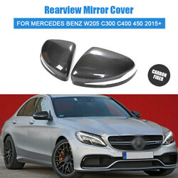 For Mercedes Benz W205 C300 C400 450 15-2020 Carbon Fiber Side Mirror Cover Caps