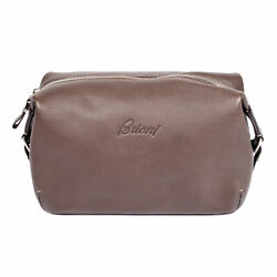 Brioni Brown Leather Logo Cosmetic Dopp Kit Bag NEW $499.00