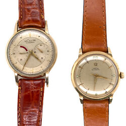 Pair Of Man's Vintage Watches Rare Le Coultre Futurematic And Omega Automatic 50's