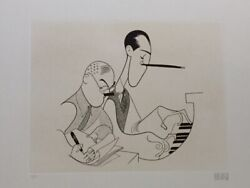 Al Hirschfeld, George And Ira Gershwin, Extremely Rare Hand Signed Etching,1981