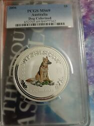 2006 8 Pcgs Ms69 5oz Australia Year Of The Dog Colorized Pop 5