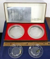 1971 Eisenhower Crystal Coin Coaster Set And Kennedy Imperial Summit Glass Coaster