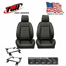 Tmi Pro Series - Low Profile Buckets W/headrest And Brackets For 1966-72 Chevelle