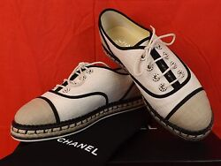 Nib Beige Canvas Lace Up Pearls Cc Espadrille Flat Oxfords Sneakers 39.5