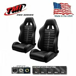 Tmi Pro Series -pair Of Chicane Sport X Racing Seats W/contrast Stitch And Grommet