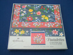 New Vtg 1970s Hallmark Postalettes Fold-up Letters And Seals Spring Flowers Seald