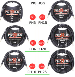 Pig Hog Ph3/6/10/15/20/25 Straight Guitar Cord 8mm Instrument Patch Cable Black